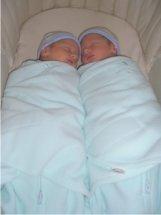 twins sleep in same bassinet
