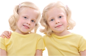 Young Identical Twin Blond Girls
