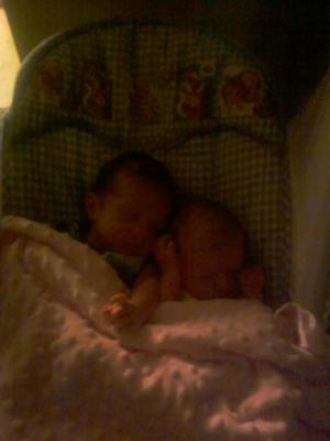 Alexis and Zachary, 4 weeks old