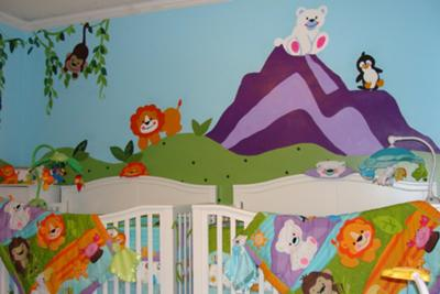 boy girl evans twins nursery precious planet fun animal theme
