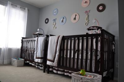 Boy Girl Twins Nursery Simple Decor
