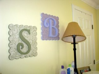 scallop square with custom monograms - Steven and Bella