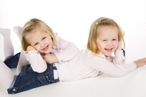 Identical Blond Toddler Girls