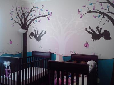 Girl Girl Twins Tree Swing Silhouette Theme Nursery