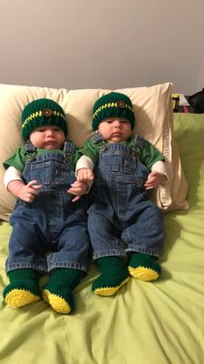 My 4 month old identical twin boys, dressed up as John Deere farmers!