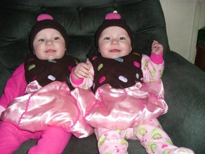 my 7 month old twin grandbabies as cupcakes
