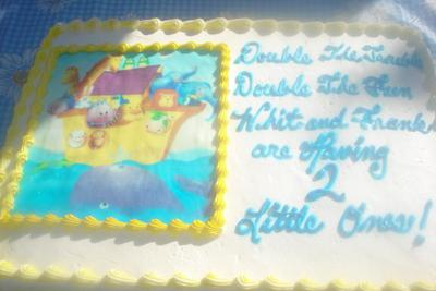 twin baby shower cake the cake reads double the trouble double the fun ...
