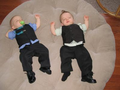 Our little men in their Easter suits, all tuckered out!