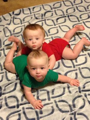 Jackson Cooper (in red) and Ryker James, 8 months
