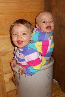 My twin miracles Hannah (blond) and Raegen having fun!