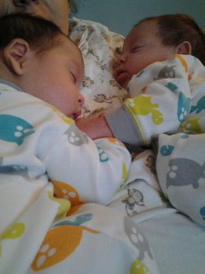 Our b/g twins at 3 months napping together and holding hands <3