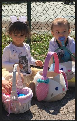 Olivia and Benny in their first egg hunt!