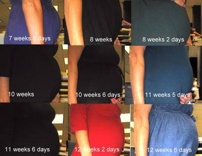 7 to 12 Weeks Belly Progression