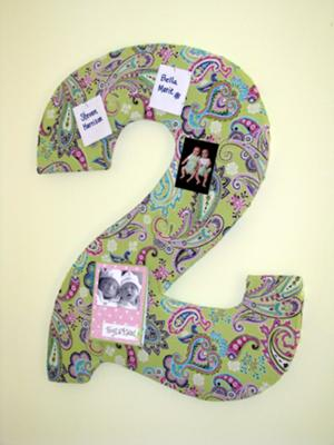 24 inch '2' covered in corkboard and fabric