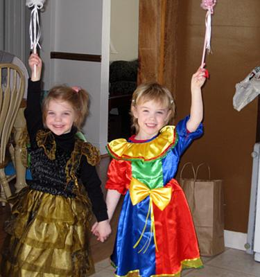 My 4 year old twins Annabelle & Kathryn headed to a