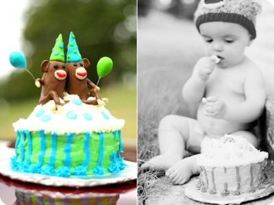 1st Birthday Cake w/ Twin Sock Monkeys (1 with Angel Wings)